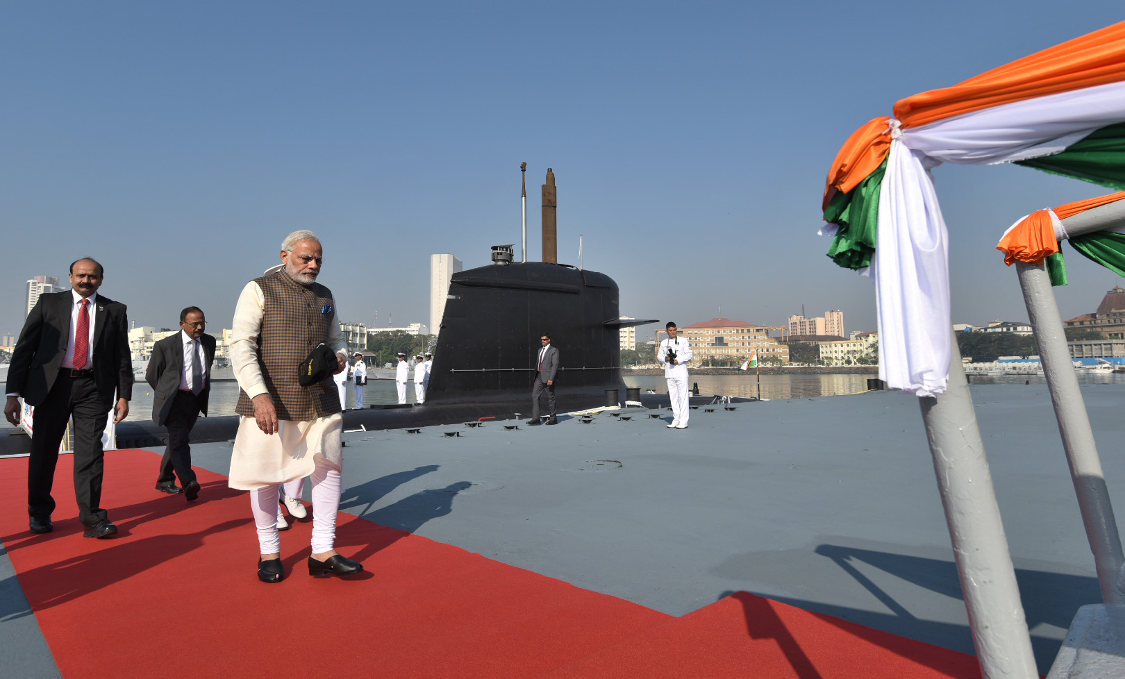 PRIME MINISTER SHRI.NARENDRA MODI COMMISSIONING INS KALAVARI-THE SUBMARINE ON 14-12-2017 AT MUMBAI-