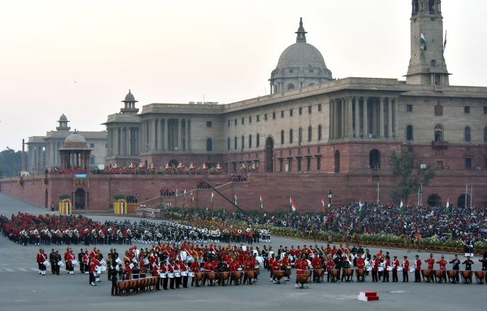 The Band performing at the 'Beating Retreat' ceremony, at Vijay Chowk, in New Delhi on January 29, 2018.